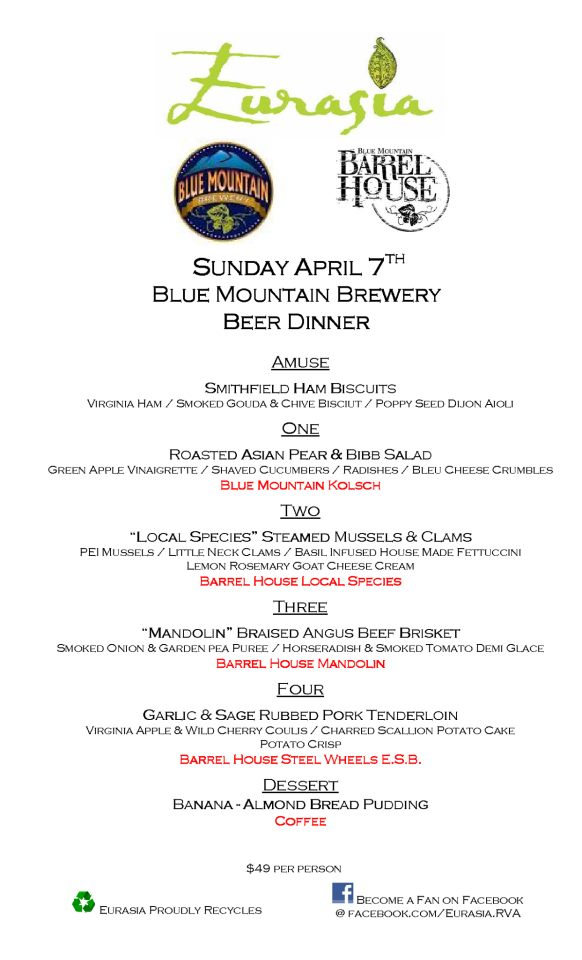Eurasia Blue Mountain Beer Dinner 040713