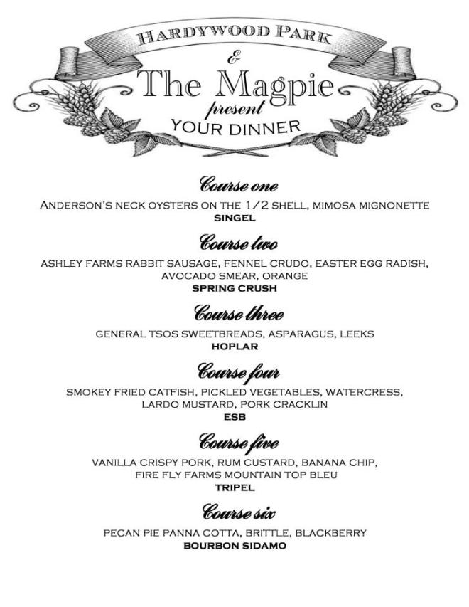 Magpie Hardywood Beer Dinner 040913