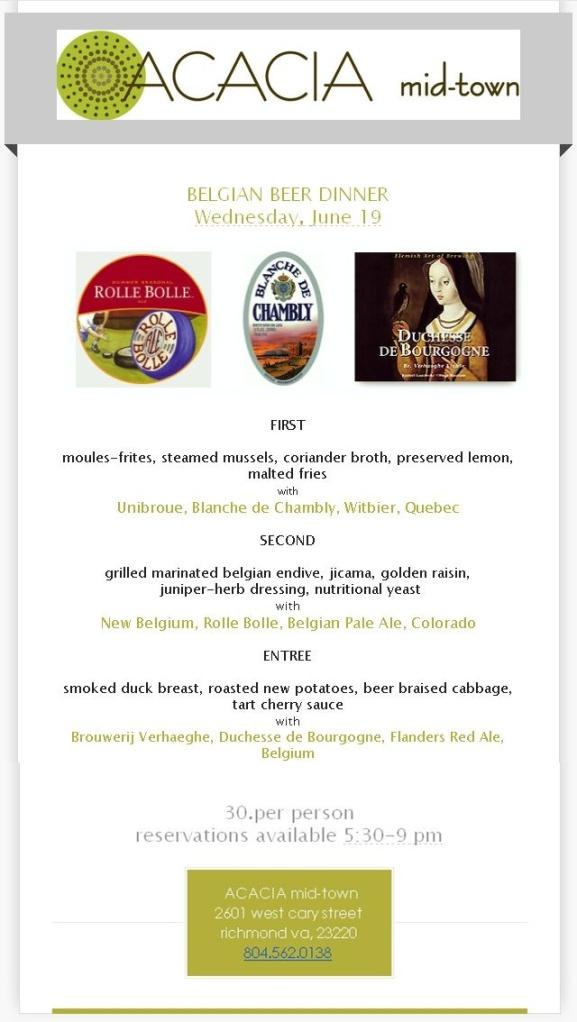 Acacia Belgian Beer Dinner 061913
