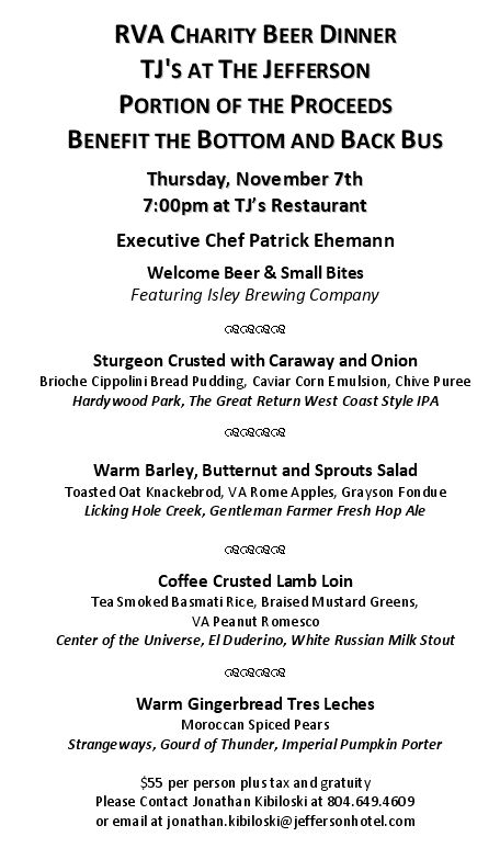 RVA Beer Charity Dinner 110713