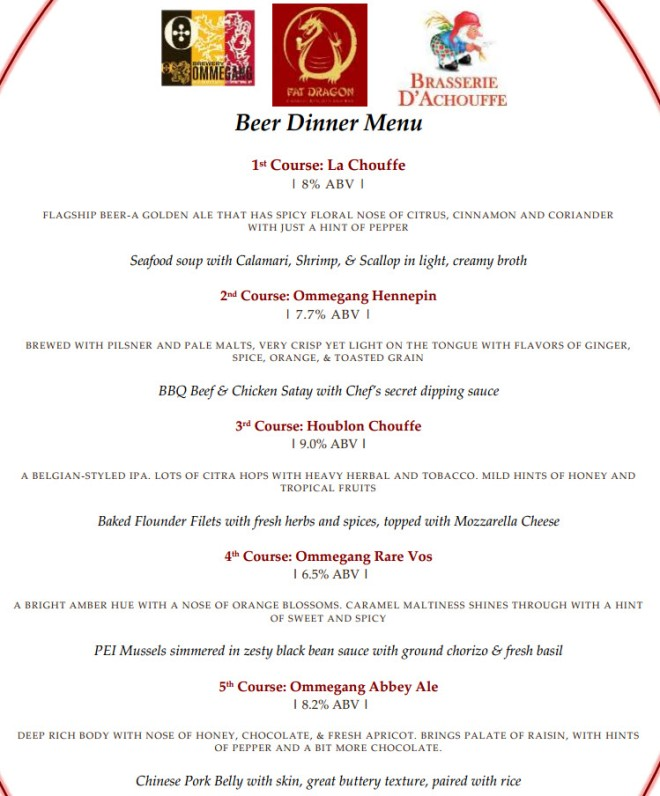 Fat Dragon Ommegang Beer Dinner 031914