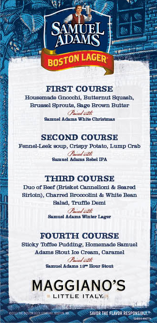 Maggiano's Beer Dinner Menu