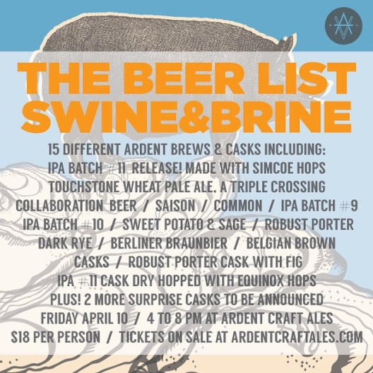 Ardent Swine & Brine beers 041015