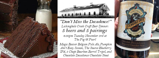 LCCB beer dinner at Pig & Pearl 110315